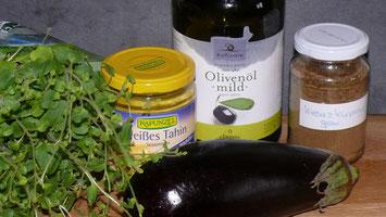 Zutaten für den leckeren Auberginen-Aufstrich