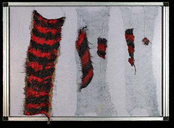 Rote Marmorkatze ausgestorben, Acryl, Leinwand, Textil, Veronika Matzner