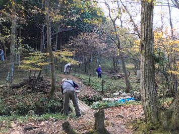 地元の山門老人会と観察コースの草刈り