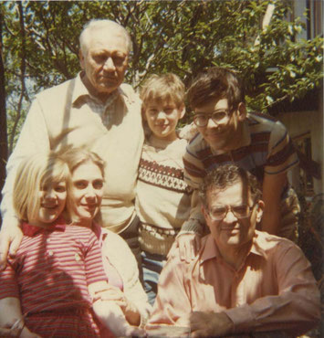 Standing, left to right: Stanley's father-in-law, Roger Harlepp; Paul Rosen; Nicholas Rosen.  Seated, left to right:  Valerie, Françoise, and Stanley Rosen.  Castagniers, France, 1981.