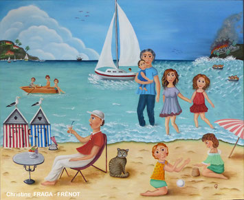101- GUERRE ET PAIX Christine Fraga Frénot ART NAIF tableau 15F  -  signé CF    huile sur toile de lin    54x65cm