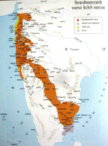 The dark area shows the territory that Shivaji controlled in India.