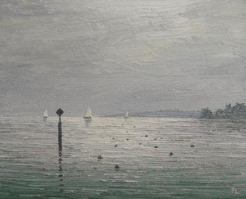 Abziehender Nebel am Bodensee (Öl auf Leinwand, 12 x 15 cm)