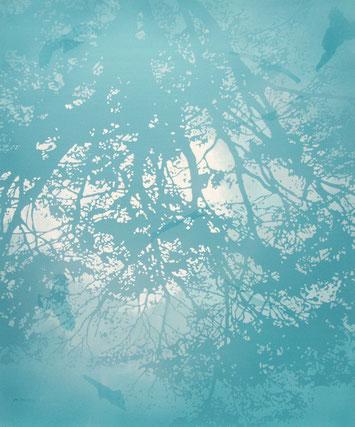 アクリル絵画 透明感 幻想的 植物 泡 水面