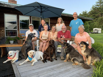 Three generations of the Bozak family and all six of the family dogs at a gathering in July of 2019.