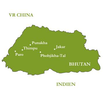 Reiseroute - Bhutan - Zu Gast beim Donnerdrachen