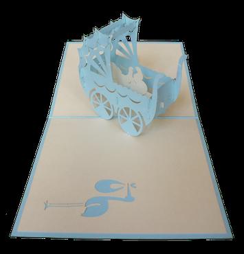 Carte Pop-Up Poussette bleue