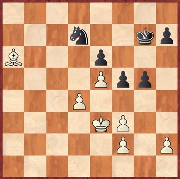 Mauelshagen - Brensing: Schwarz zog 42. ... f5?? wonach Weiß mit dem starken Doppelschlag 43.Lc8! Sf8 44.d5! endlich eine Gewinnstellung erreichte und nach 44. ... f4 45.Kd4 Kf7 46.Lxe6 Sxe6 47.dxe6 das Bauernendspiel trivial gewinnen konnte.