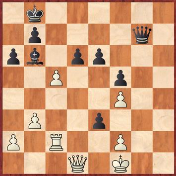 Tietze - Roth: Erwin verpasst nach 41. ... Dg7+ 42.Kf1? den schönen Zwischenzug exf2! was aufgrund der Drohung Dg1+ einen weiteren Bauern gewinnt
