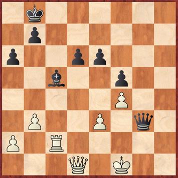 Tietze - Roth: Weiß spielte 44.Txc5?? was nach Dh3!+ und Damentausch die Partie aufgrund des verlorenen Bauernendspiels einstellt.