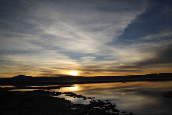 Coucher de soleil sur la lagune Tebinquiche