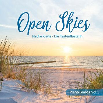 "Cover CD ""Open Skies"" - Piano Songs Vol. 2 ,  Nordseestrand bei Sonnenuntergang, Poetische Klavierkompositionen von Hauke Kranz"