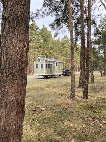 Transport Meyers Tiny House 01 zum Erholungsgebiet Wald See