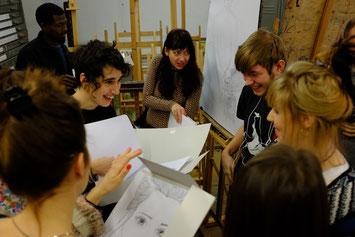 Les auteurs visitent l'école des arts et échangent avec les jeunes artistes, 2017 Zabrze, Pologne