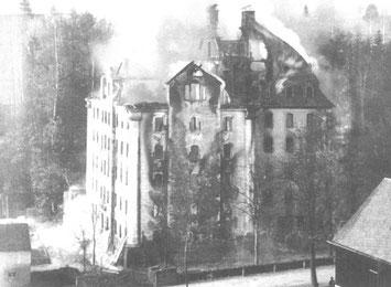 Brand der Spinnerei im Jahre 1896 (Fotograf unbekannt)