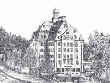 Die Spinnerei Evans Siebenhöfen (Zeichnung Paul Evans)