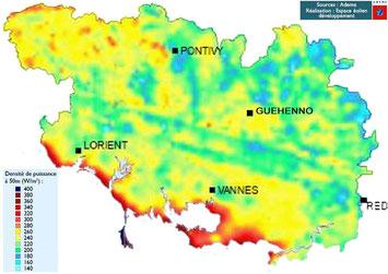 Carte du potentiel éolien dans le Morbihan