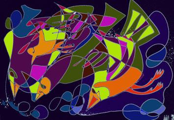 Mario, Lorenz, Kunst, Künstler, Graz, Steiermark, Österreich, Vogel, Vögel, bunt, lebhaft, Einstrichzeichnung, Grafik, Computer, blau, magic, blue, marineblau, preußischblau, dunkelblau, orange, rot, oliv, gelb, lila, türkies, Flug, Talent,  Druck, kaufen