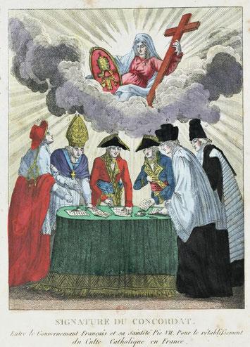 Signature du traité de concordat à Paris, le 26 messidor an IX (15 juillet 1801), avec le Saint-Siège.