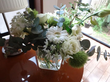 生徒さんに頂いたお花。爽やかで素敵!