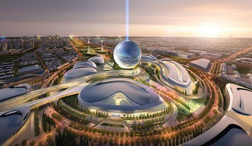 Image of Astana's futuristic exhibition complex at the Millennium Alley Courtesy: AS+GG