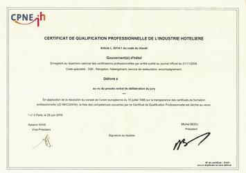 Diplôme CQP Certificat de Qualification Professionnelle de gouvernante réceptionniste en hôtel