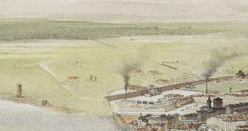 Livorno nel 1849; dettaglio della strada ferrata