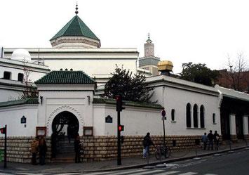 Photo de la mosquée vue de l'entrée du jardin des plantes