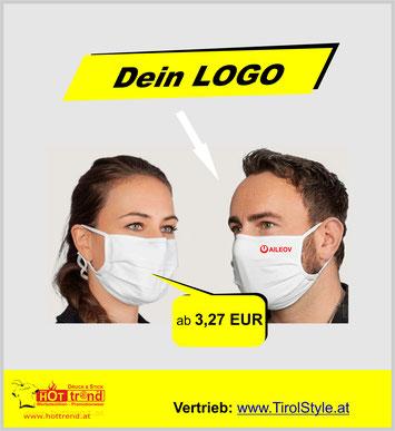 masken mit logo bedruckt druck.at bei tirolstyle hottrend stickerei druck at at druck hersteller von masken mund nasen maske