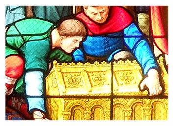 L'Arrivée des Reliques - Vitrail Haute Chapelle