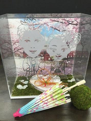 新郎新婦和装白のデコレーション 桜