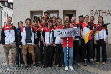 Das deutsche Kanu-Freesytle Team bei der Eröffungsfeier, Foto: Birgit Stiebing
