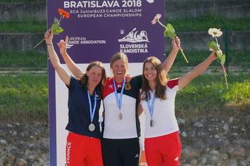 Europameisterin 2018 im Kanu-Freestyle vor Marlène Devillez (FRA) & Zosia Tula (POL), Foto: Konstantin Mayer