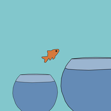 Cartoon illustration of a goldfish leaping to a larger bowl
