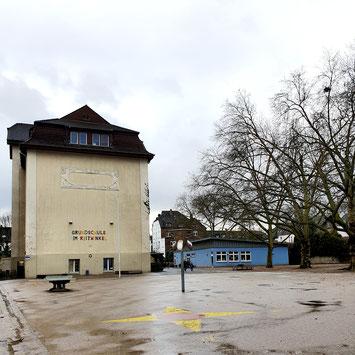 Schulhof der Grundschule Im Reitwinkel, rechts im Bild die drei Platanen, um die es in der Petition geht.