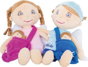 Stoffengel-Set für Mädchen und Jungen: jeweils ein großer Engel mit Umhängetasche und kleinem Engel darin