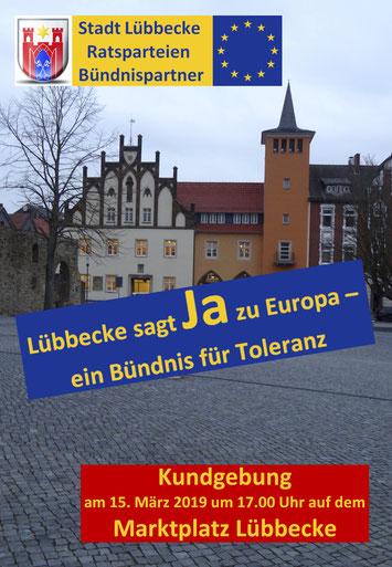 """Werbeplakat der Kundgebung """"Lübbecke sagt Ja zu Europa"""" (© Michael Hafner)"""