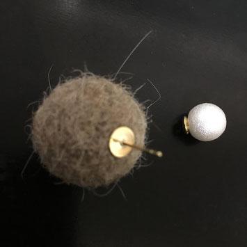うさぎの毛100%の手作りピアス