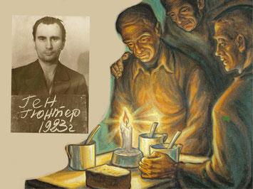 Foto: Günther Haehn nach seiner Gefangennahme durch die sowjetische Geheimpolizei. Zeichnung: Weihnachten im Lager