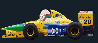 Martin Brundle by Muneta & Cerracín. Cuarta posición de Martin Brundle con un Benetton B191 en XVI Gran Premio de Mexico de 1992