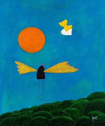 Engel fliegen höher, Majo, Acryl auf Leinwand