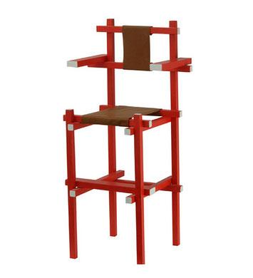 Miniatur Kinderstuhl, Schelling high chair mit Leder Sitzfläche und Rückenlehne, Miniaturstuhlvon Gerrit Rietveld, gebaut von Halil Hinz