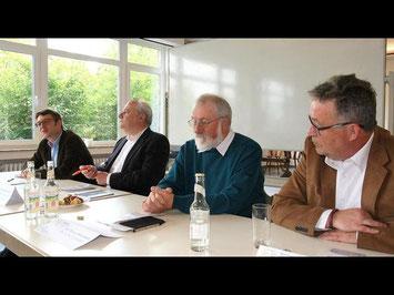 Dr. Gabriel Brand, Matthias Schmid, Wolfgang Habermehl und Klaus Friedemann Pötz (von links) stellen Veranstaltung und Programm vor. (Foto: Maywald)