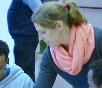 Friederike Heinl im Deutschkurs. Foto: privat