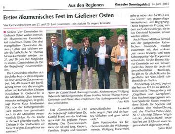 Artikel von Lothar Rühl aus dem Kasseler Sonntagsblatt vom 14.6.2015