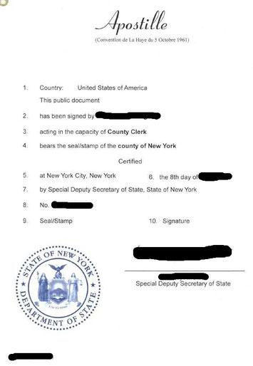 Apostille aus New York