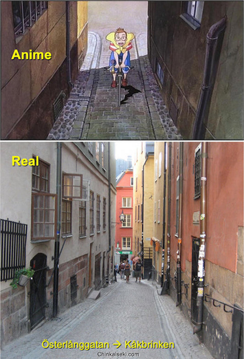 魔女の宅急便、スウェーデン ガムラスタンの街並み