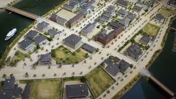 川口居留地(明治時代の模型。なにわの海の時空館所蔵)(左が木津川、画像右が安治川および古川)