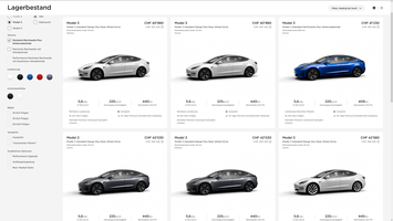 Ab Lager verfügbare neue Model 3 (Screenshot: tesla.com)