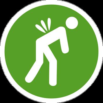 Rundes grünes Piktogrammm mit weißer Figur mit Rückenschmerz